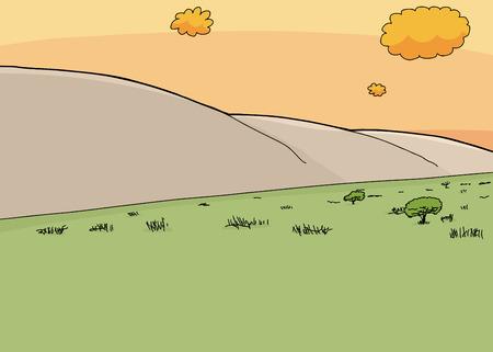 hillside: Cartoon grassland savannah with hillside during sunset