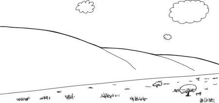 概略図サバンナと背景の山