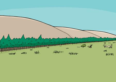 Mountainside: Cartoon goni zdobycz myśliwy z włócznią w puszczy Ilustracja