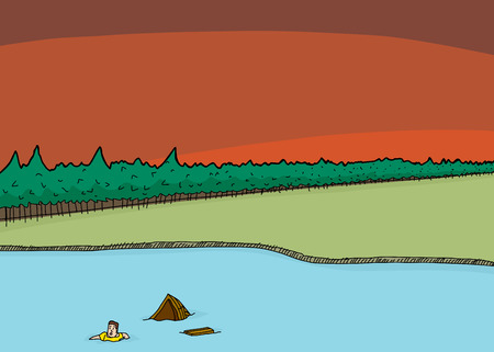 overwhelmed: Cartoon of overwhelmed man in lake with sinking boat