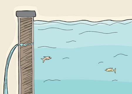 Cartoon of fish inside wall of leaking dike Illustration