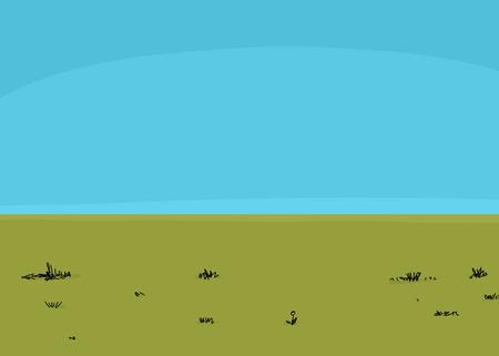 speelveld gras: Groen gras veld met onkruid en de blauwe hemel