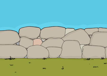 hand drawn cartoon: Mano dibujo animado hecho de piedra corta valla