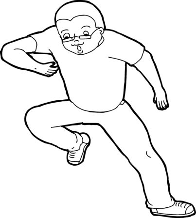 awkward: Outline illustration of single stumbling man