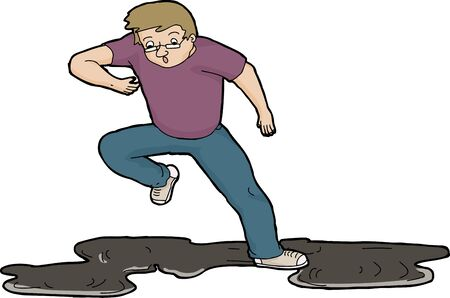 awkward: Cartoon illustration of man slipping on oil slick over white Illustration