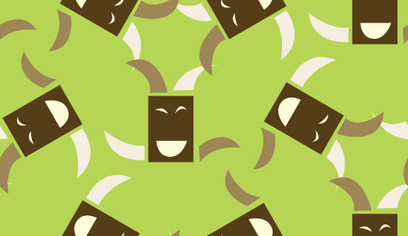 Seamless pattern of happy squares dancing over green