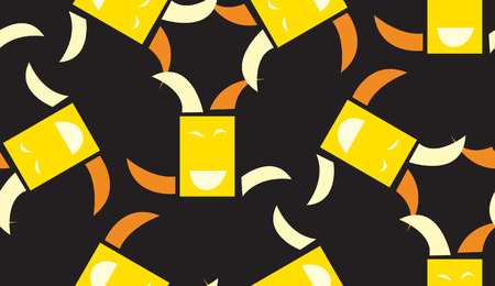 square dancing: Seamless background pattern of square dancing faces over black Illustration