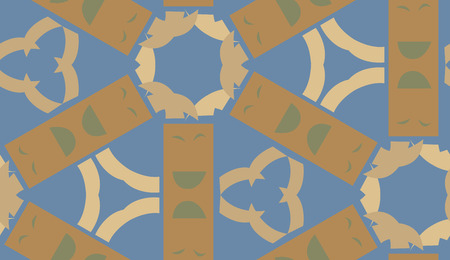 Seamless background pattern of brown shapes over blue