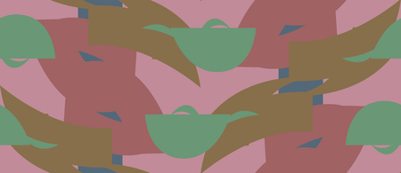 Seamless background pattern of green and brown shapes over pink