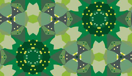 Seamless kaleidoscope pattern of green floral shapes Иллюстрация