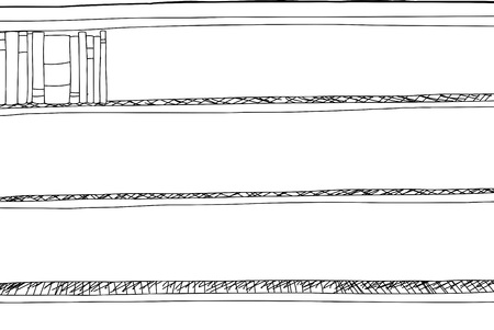 Outline drawing of books in corner of shelf 向量圖像
