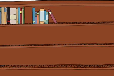 Two sets of books on top of bookshelf cartoon 向量圖像