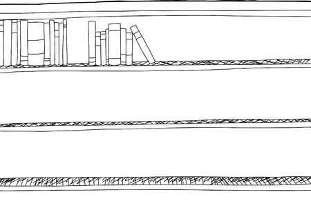 partially: Outline drawing of partially full shelf of books