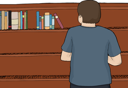 Back of Caucasian male looking at books on top of shelf Illustration