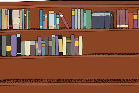 half full: Hand drawn cartoon of half full bookshelf Illustration