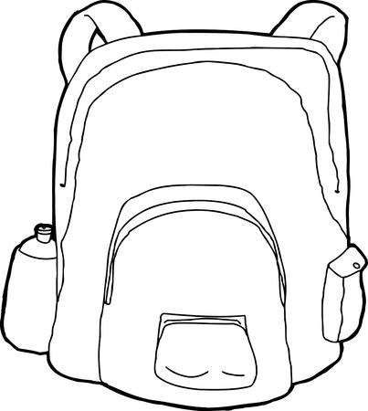 knapsack: Hand drawn cartoon of outlined backpack with water bottle