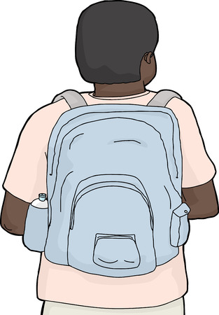 back view student: Isolated rear view cartoon of person wearing backpack