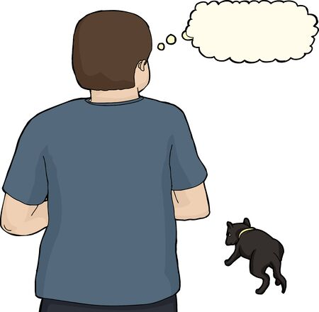 stray: Isolated worried man looking at stray dog Illustration