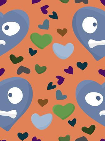 heartsick: Modelo incons�til del fondo de los corazones de m�s de naranja Vectores