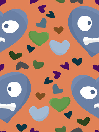 heartsick: Seamless background pattern of hearts over orange