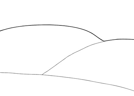 Outlined empty rolling hills background cartoon illustration