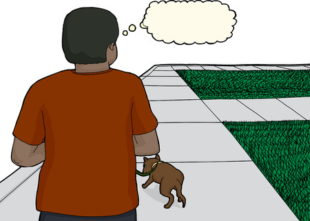 rear: Rear view of thinking African male walking dog on sidewalk