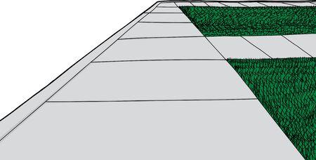 vanishing point: Sidewalk and walkways with surrounding green grass cartoon