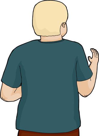 Illustratie van geïsoleerde persoon aan achteraanzicht golvende hand