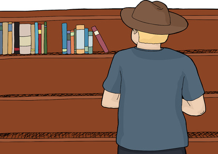 single shelf: Rear view of blond person in cowboy hat looking at bookshelf Illustration
