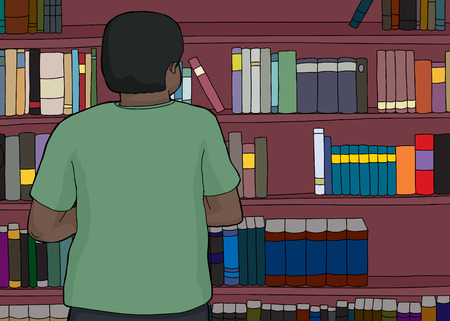 hispanic boys: Single African man looking at bookshelves