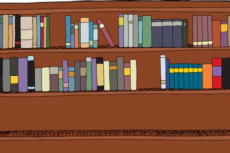 �tag�re bois: Cartoon �tag�re en bois avec deux rang�es de livres Illustration