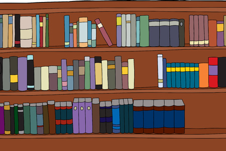 generic: Three rows of generic books on shelf illustration