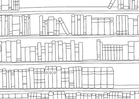 Outline of large book shelf with blank books