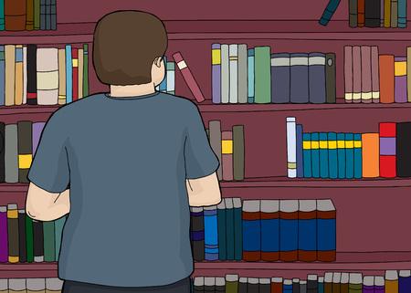Single male looking at large bookshelf 向量圖像