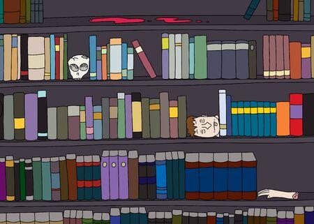 strange: Cartoon of strange library of books and body parts