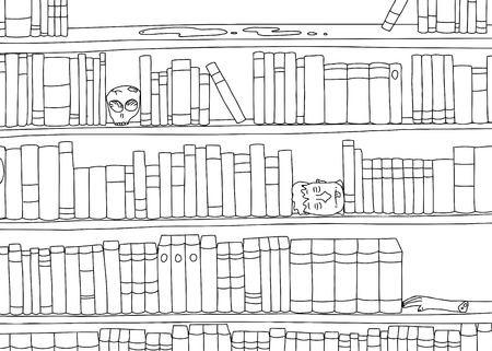 Outline cartoon of strange bookends in bookshelf