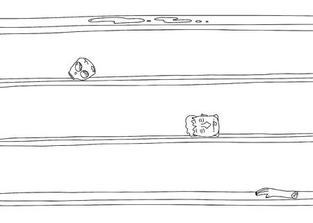 Strange outline cartoon of human body parts on shelves
