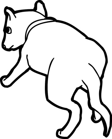 rear view: Rear view of outlined cartoon puppy dog over white Illustration