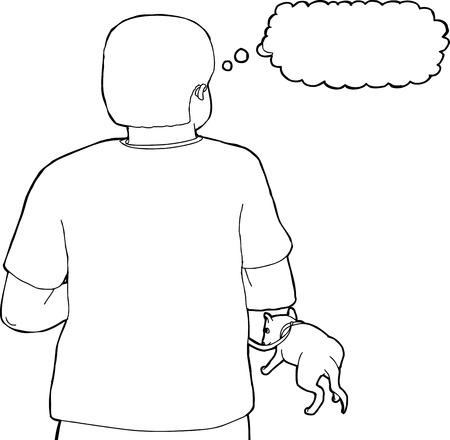 Achteraanzicht schets van persoon lopen met de hond aan de lijn