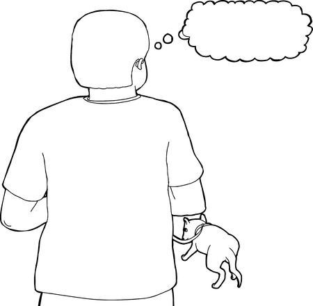 Rear view outline of person walking with dog on leash