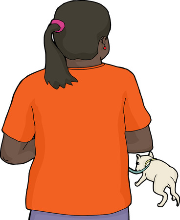 dog leash: Rear view of isolated woman walking dog on leash Illustration