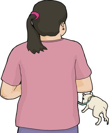 Achterkant van de vrouw in het roze lopen witte hond aan de leiband Stock Illustratie