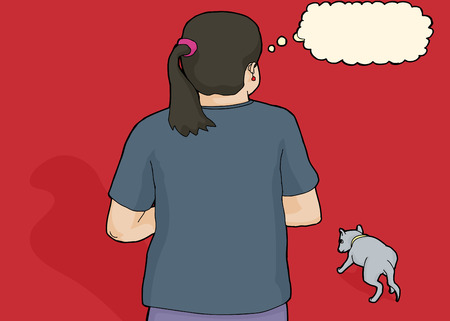 uncomfortable: Rear view illustration of person looking at stray dog Illustration