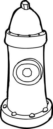 fire hydrant: Outlined cartoon fire hydrant over white background