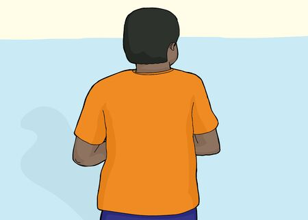 hispanic boys: Cartoon of back of African man with blank shirt