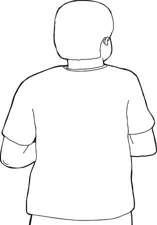Outline cartoon van de achterkant van de persoon op zoek weg