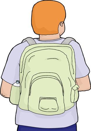 Cartoon achteraanzicht van persoon draagt rugzak