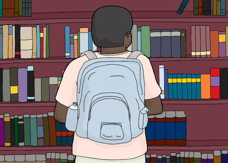 rear view: Rear view cartoon of Black person at library wearing backpack
