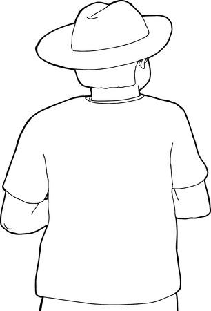 Hand getekende cartoon van de cowboy op achteraanzicht