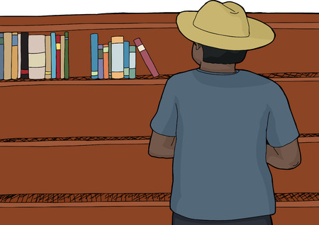 rear view: Rear view of person in cowboy hat looking at bookshelf